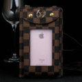 LV Checks View Window Touch Leather Case Pocket Wallet Universal Bag for iPhone 8 Plus - Brown