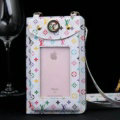 LV Flower View Window Touch Leather Case Pocket Wallet Universal Bag for iPhone 8 Plus - White