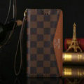 LV Louis Vuitton Pattern Genuine Leather Cases Retro Flip Holster Cover For iPhone 8 Plus - Brown