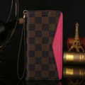 LV Louis Vuitton Pattern Genuine Leather Cases Retro Flip Holster Cover For iPhone 8 Plus - Rose