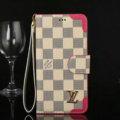 Louis Vuitton LV Flip Leather Cases Beige Checks Pattern Button Holster Cover For iPhone 8 Plus - Rose