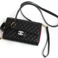 Luxury Chanel Flip Leather Case Holder Wallet Universal Bag Holster Cover for iPhone 8 Plus - Black