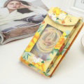 MCM Pattern View Window Touch Leather Case Pocket Wallet Universal Bag for iPhone 8 Plus - Yellow