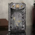 MCM Snake Pattern Window Touch Leather Case Pocket Wallet Universal Bag for iPhone 8 Plus - Sliver