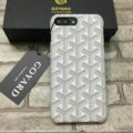 Personalized GOYARD Leather Pattern Cases Hard Back Covers for iPhone 8 Plus - White