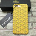 Personalized GOYARD Leather Pattern Cases Hard Back Covers for iPhone 8 Plus - Yellow