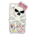 Bling Skull chanel Swarovski crystals diamond cases covers for iPhone X - Pink