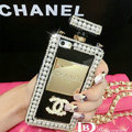 Bling Swarovski Chanel Perfume Bottle Good Pearl Cases for iPhone X - Black