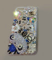 Bling Swarovski crystal cases Chanel Panda diamond cover for iPhone X - Blue