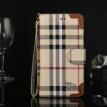 Burberry Pattern Flip Leather Cases Button Book Genuine Holster Cover For iPhone X - Brown