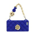 Candies Silicone Cover for iPhone X Fashion Women Handbag Pearl Chain Soft Case - Blue