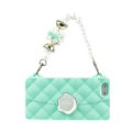 Candies Silicone Cover for iPhone X Fashion Women Handbag Pearl Chain Soft Case - Green