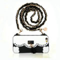 Candies Tassels Handbag Silicone Cases for iPhone X Fashion Chain Soft Back Cover - Black