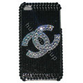 Chanel Bling Crystal Covers Diamond Rhinestone Cases for iPhone X - Black
