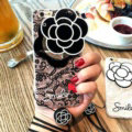 Chanel Camellia Mirror Lace Silicone Cases for iPhone X Rope Handbag Soft Cover - Black