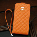 Chanel Genuine leather Case Flip Holster Cover for iPhone X - Orange