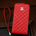 Chanel Genuine leather Case Flip Holster Cover for iPhone X - Red