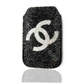 Chanel Luxury Bling Holster Covers diamond Crystal Cases for iPhone X - Black