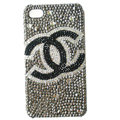 Chanel diamond Crystal Cases Luxury Bling Hard Covers for iPhone X - Grey