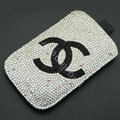 Chanel diamond Crystal Cases Luxury Bling Holster Covers for iPhone X - White