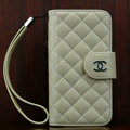 Chanel folder Genuine leather Case Book Flip Holster Cover for iPhone X - Beige
