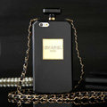 Classic Chanel Perfume Bottle Chain Silicone Cases for iPhone 7S Plus - Black