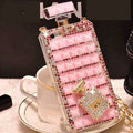Classic Swarovski Chanel Perfume Bottle Parfum N5 Rhinestone Cases for iPhone X - Pink