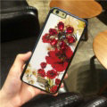 DG Crystals Leather Back Cover for iPhone 7S Plus Dolce Gabbana Flower Pattern Hard Case - White