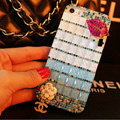 Funky Chanel Bling Rhinestone Flower Case Red lips Diamond Cover for iPhone X - Blue