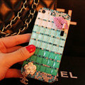 Funky Chanel Bling Rhinestone Flower Case Red lips Diamond Cover for iPhone X - Green