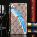 Gucci Flip Leather Cases Animals Birds Pattern Book Holster Cover For iPhone 7S Plus - Brown