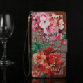 Gucci Flip Leather Cases Button Book Red Flower Pattern Holster Cover For iPhone X - Brown