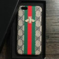 Gucci Pattern Embroidery Honeybee Leather Case Hard Back Cover for iPhone 7S Plus - Gray