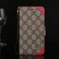 Gucci Pattern Flip Leather Cases Button Book Genuine Holster Cover For iPhone X - Rose