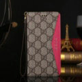 Gucci Pattern Genuine Leather Cases Book Flip Holster Cover For iPhone 7S Plus - Rose