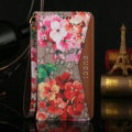 Gucci Red Flower Pattern Leather Cases Flip Genuine Holster Cover For iPhone X - Brown