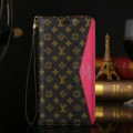 LV Small Flower Pattern Genuine Leather Cases Flip Holster Cover For iPhone X - Rose