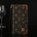 Louis Vuitton LV Big Flower Flip Leather Cases Button Book Holster Cover For iPhone X - Brown