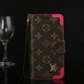 Louis Vuitton LV Big Flower Flip Leather Cases Button Book Holster Cover For iPhone X - Rose