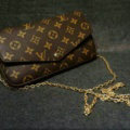 Louis Vuitton LV Chain Flip Leather Case Universal Shoulder Bag Cover for iPhone X - Brown