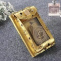 MCM Pattern Window Touch Leather Case Pocket Wallet Universal Bag for iPhone X - Gold