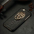 NPC Metal Lion Snake Print Leather Cases for iPhone X PC Hard Back Support Covers - Black
