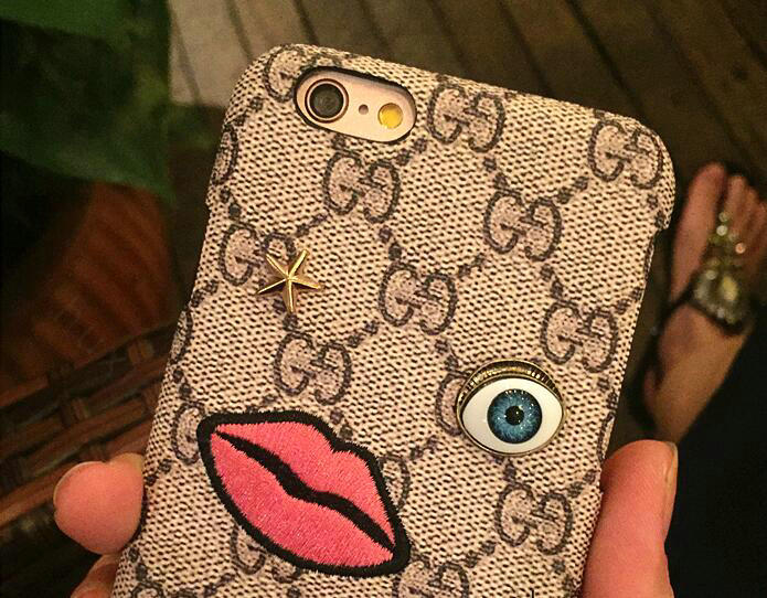 gucci 7 plus phone case. name:personalized gucci pattern embroidery leather case hard back cover for iphone 7s plus - brown 7 phone