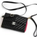 Top Chanel Flip Leather Case Holder Wallet Universal Bag Holster Cover for iPhone X - Black
