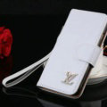Top Mirror Louis Vuitton LV Patent leather Case Book Flip Holster Cover for iPhone 7S Plus - White