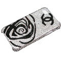 Bling Chanel crystal case for iPhone X - Black flower