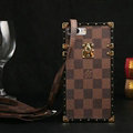 Classic LV Check Pattern Leather Cases For iPhone 7 Plus Metal Lock Louis Vuitton Cover - Brown