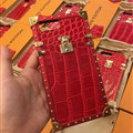 New LV Show Metal Crocodile Pattern Leather Cases For iPhone 7 Louis Vuitton Cover - Red