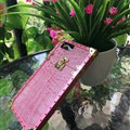 Popular LV Show Metal Crocodile Pattern Leather Cases For iPhone 7 Plus Louis Vuitton Cover - Pink