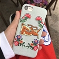 Luxury Gucci Embroidery Flower Tiger Cowboy Cloth Cases for iPhone 7 Hard Back Cover - Light Blue